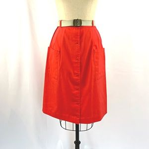 Vintage 80s Midi Skirt Snap Up Pockets Belted XS